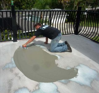 Applying deck coating to eliminate ponding and improve water drainage