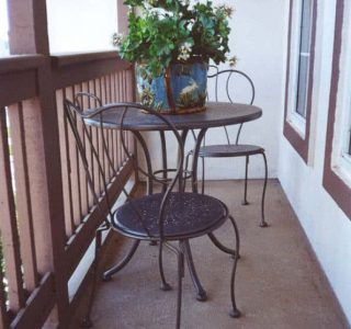 Small Balcony with table and two chairs