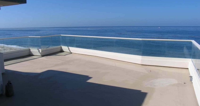 Ocean View from concrete deck balcony with waterproofing concrete