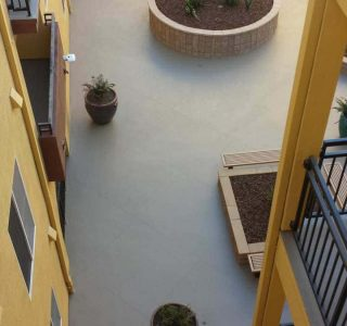 View of concrete patio from above